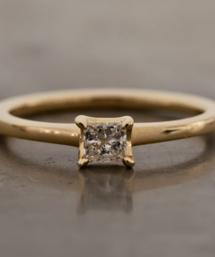 0.15ct Princess Cut Diamond K18 Gold Ring [Limited]