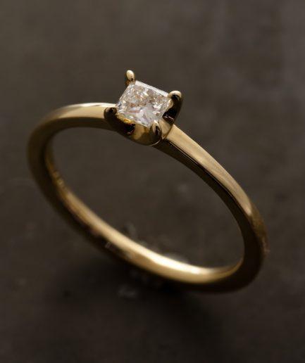 0.15ct Princess Cut Diamond K18 Gold Ring [Limited]
